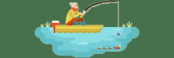 man fishing in lake catching laptop